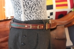 Tory Leather Snaffle Bit Belt with Green Stripe